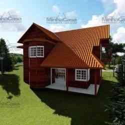 casa de madeira pré-fabricada de 165 m²
