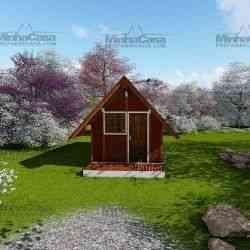 casa de madeira pré-fabricada chalé de 19 m²