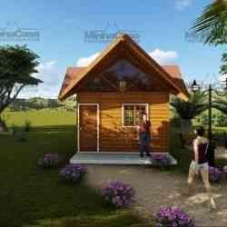 casa de madeira pré-fabricada chalé de 21 m²