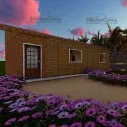 casa de madeira pré-fabricada 37 m²