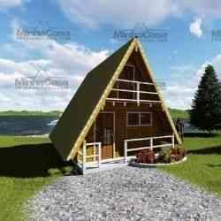 casa de madeira simples chalé 49 m²