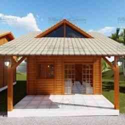 modelo de casa de madeira 1 quarto pousada IV