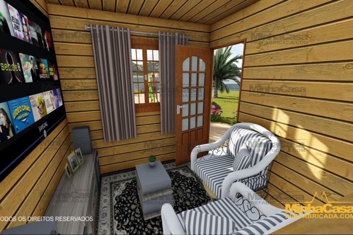 projetos de casas de madeira 1 quarto 36m2 3