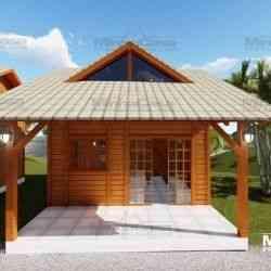 casa de madeira pequena modelo pousada IV