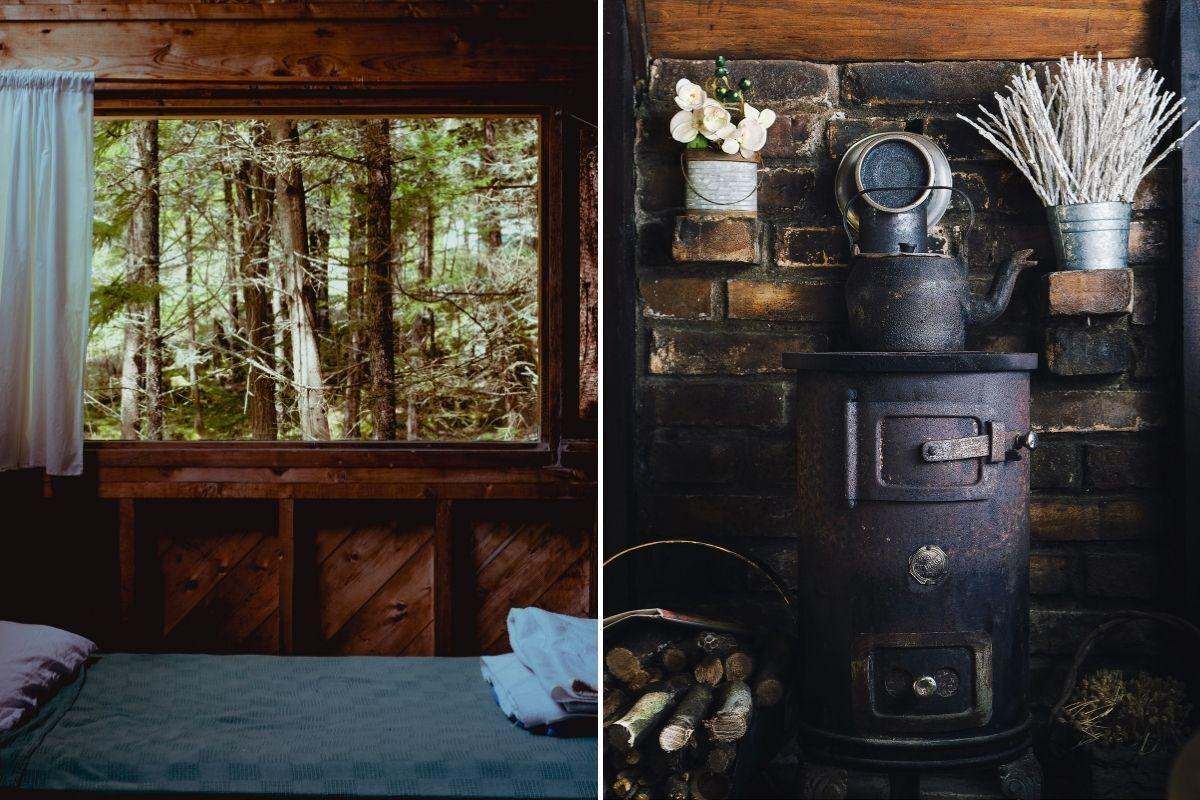 casa de madeira rústica com fogão a lenha
