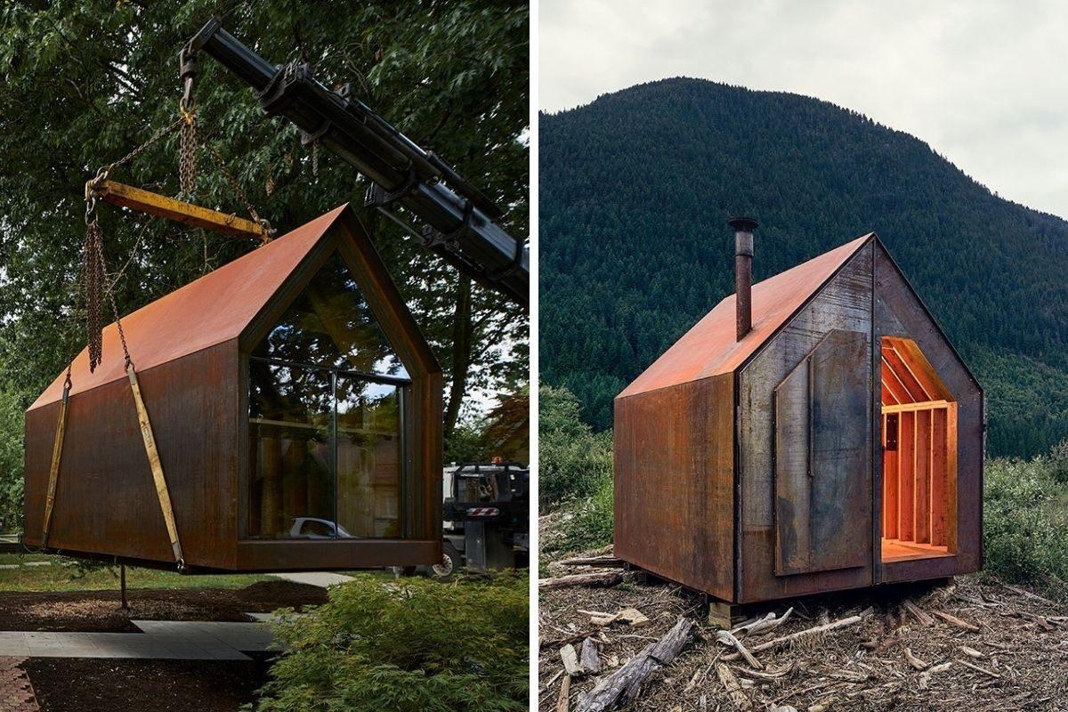 chalé de metal e madeira powers construction foto 9