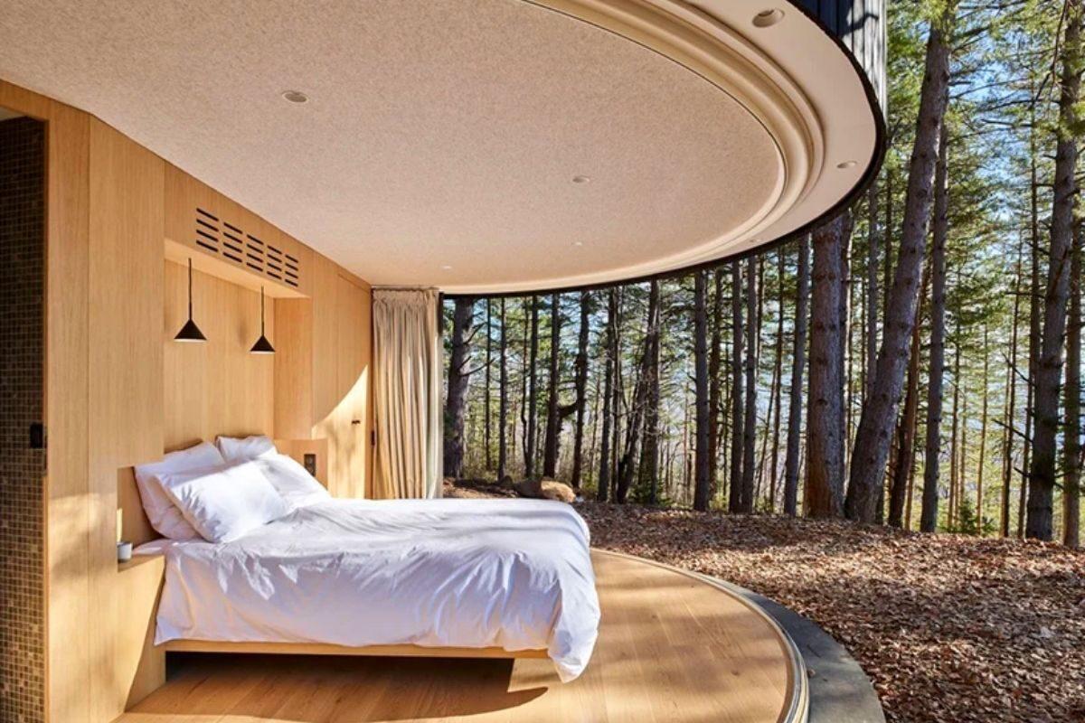 cabana de madeira circular lumipod foto 5