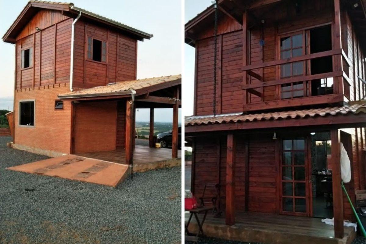casas de madeira e alvenaria frente e fundo