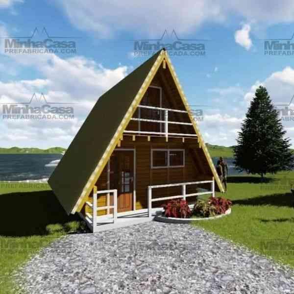 chalé de madeira simples modelo 5