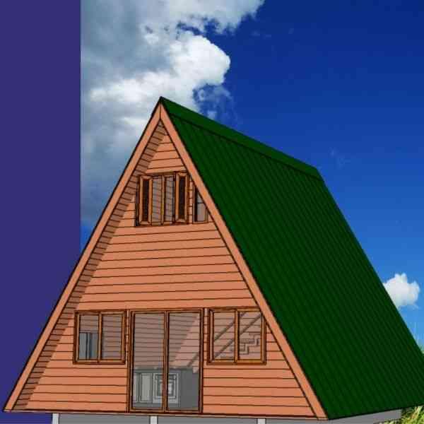 chalé de madeira simples modelo 7