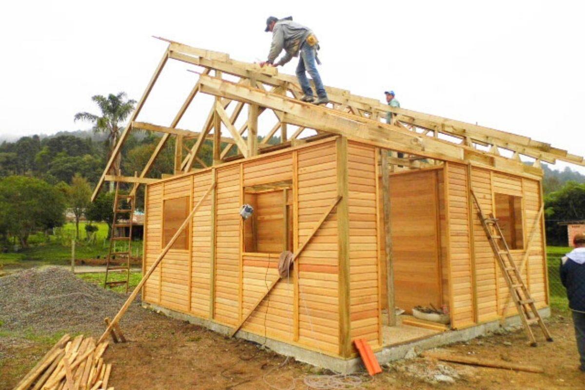 sistema de encaixe de madeira casa pré-fabricada madeiramento do telhado