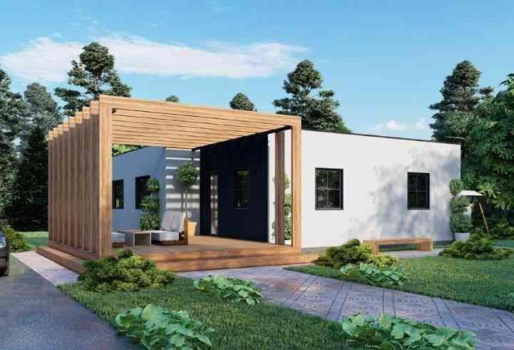 Casa de madeira modelo Casa Pré-Fabricada 102, em Portugal