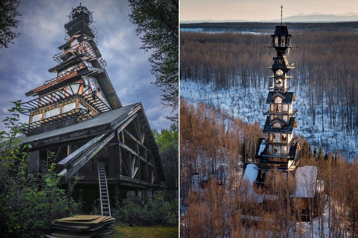 cabana com torre de madeira foto 4