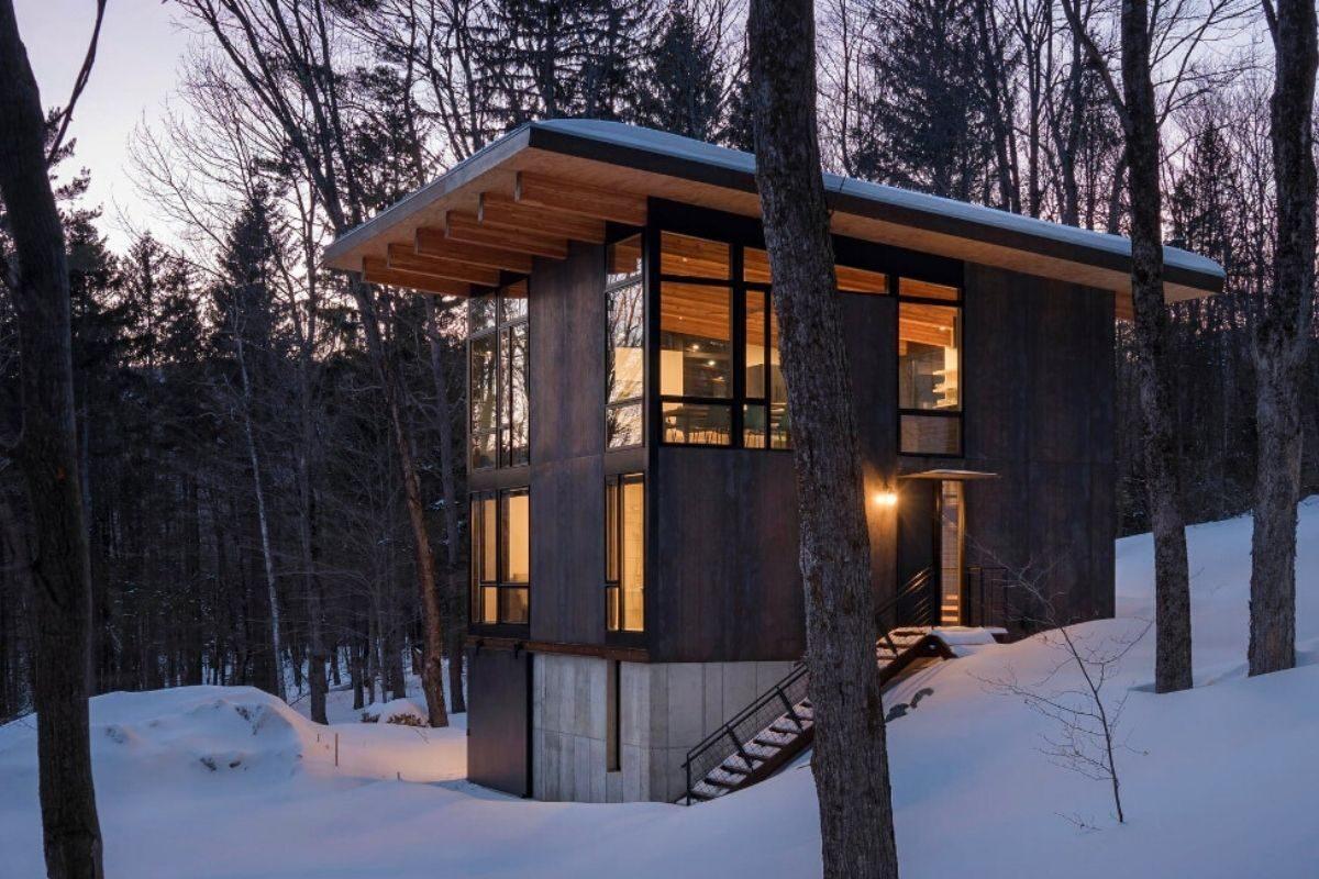 cabana de concreto metal e madeira olson kundig foto 1