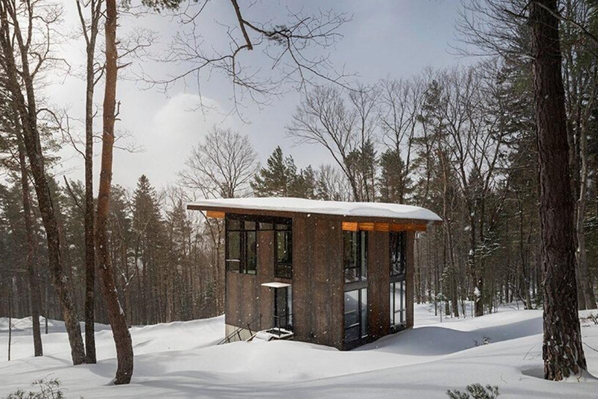 cabana de concreto metal e madeira olson kundig foto 2