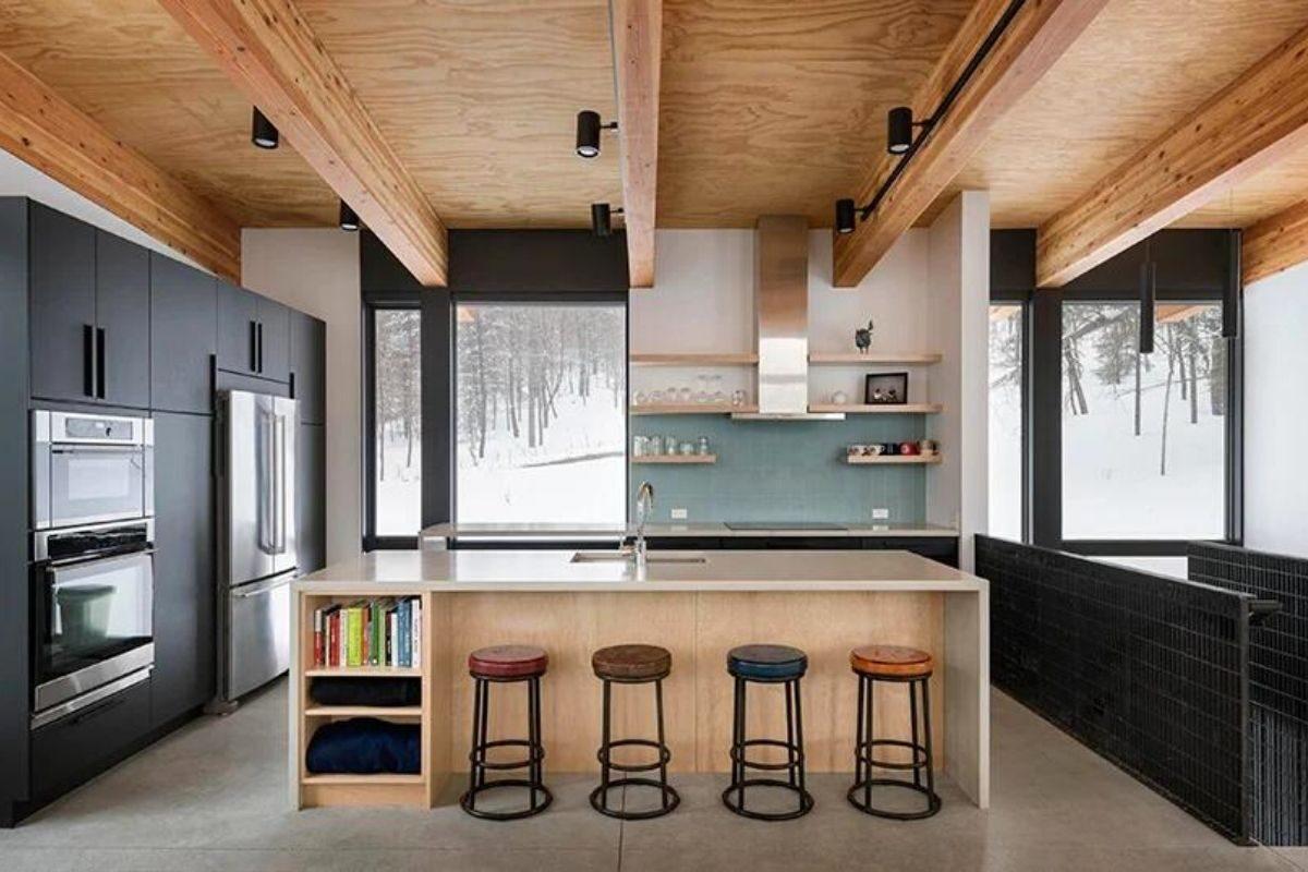 cabana de concreto metal e madeira olson kundig foto 3