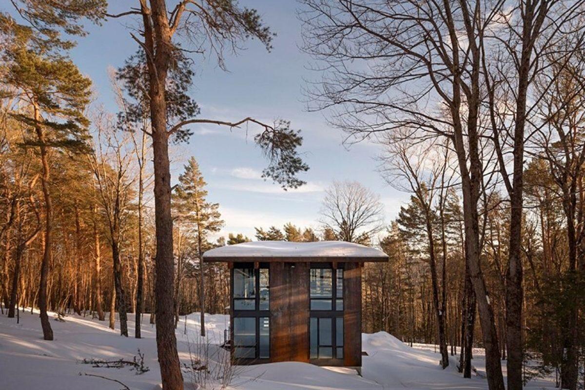cabana de concreto metal e madeira olson kundig foto 5