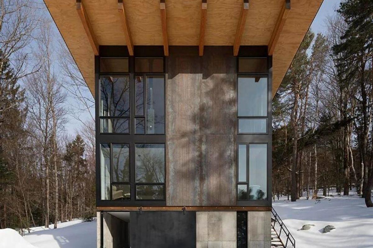 cabana de concreto metal e madeira olson kundig foto 6