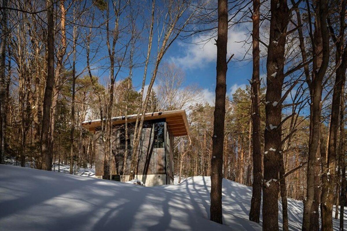 cabana de concreto metal e madeira olson kundig foto 8
