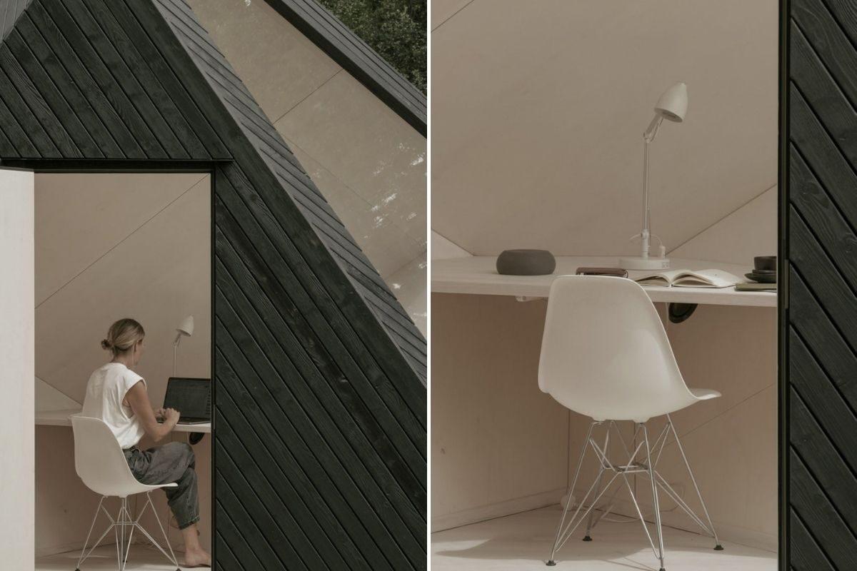 cabana de madeira home office ilusão de ótica koto foto 7