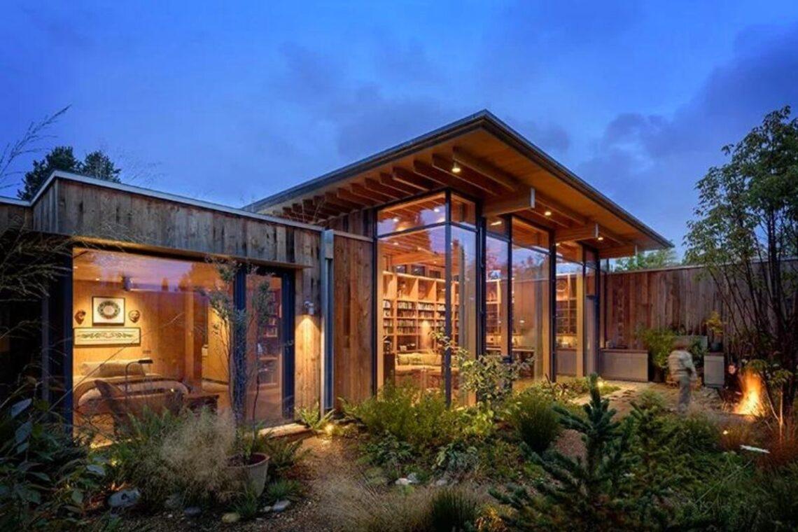 casa de madeira exposta e vidro olson kunding foto 2