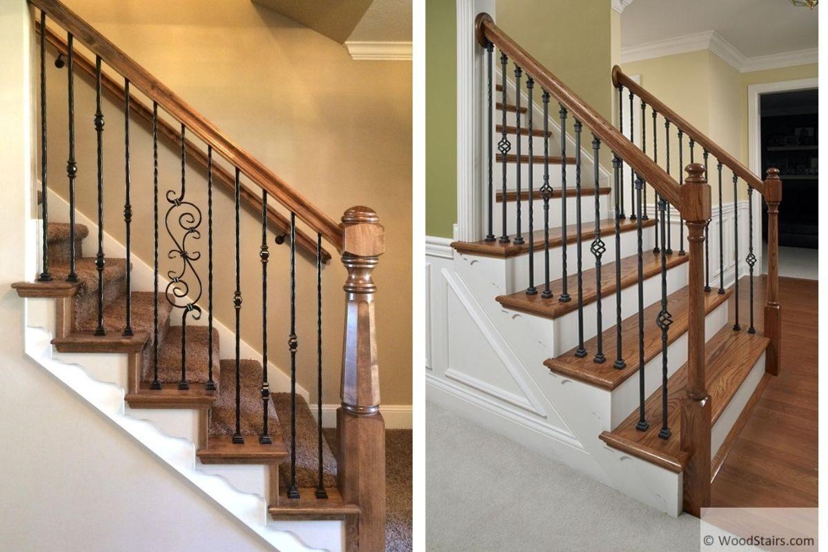 guarda-corpo de madeira e ferro escadas