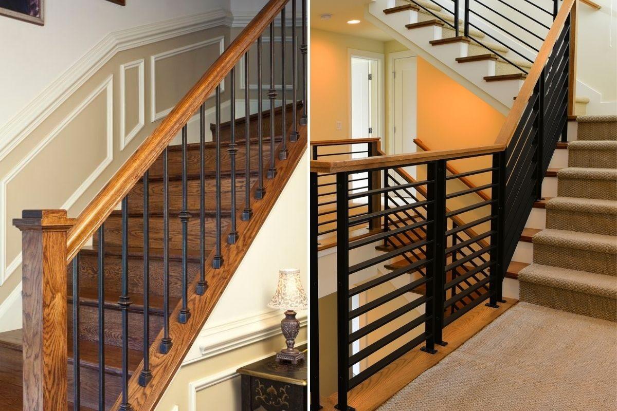 guarda-corpo de madeira e ferro interior escadas
