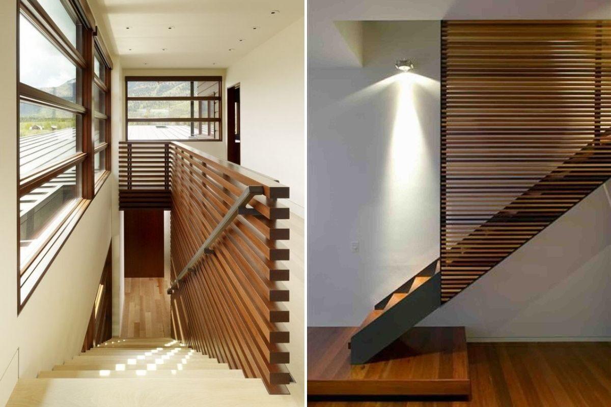 guarda-corpo de madeira em escada