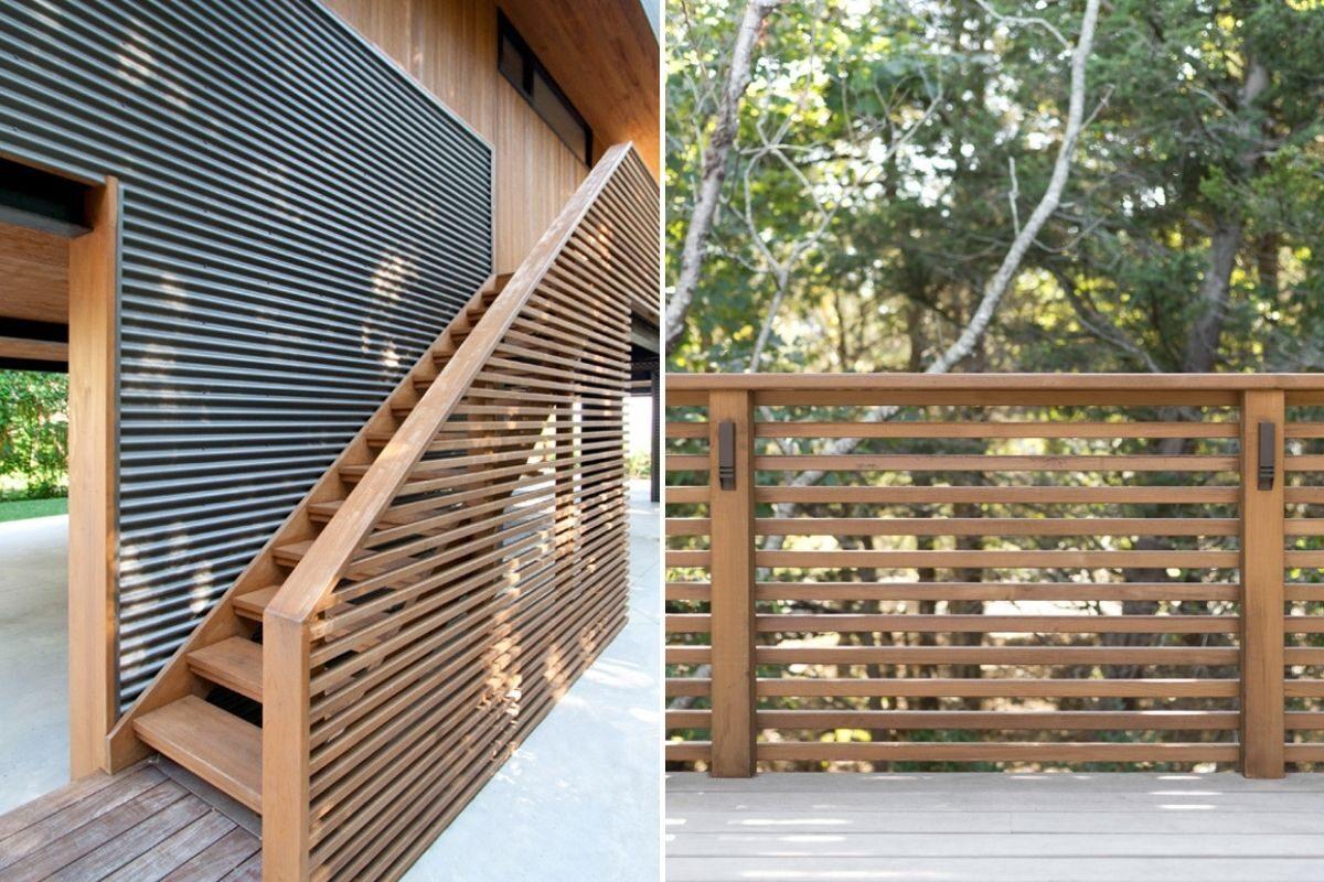 guarda corpo de madeira escada exterior e balcão