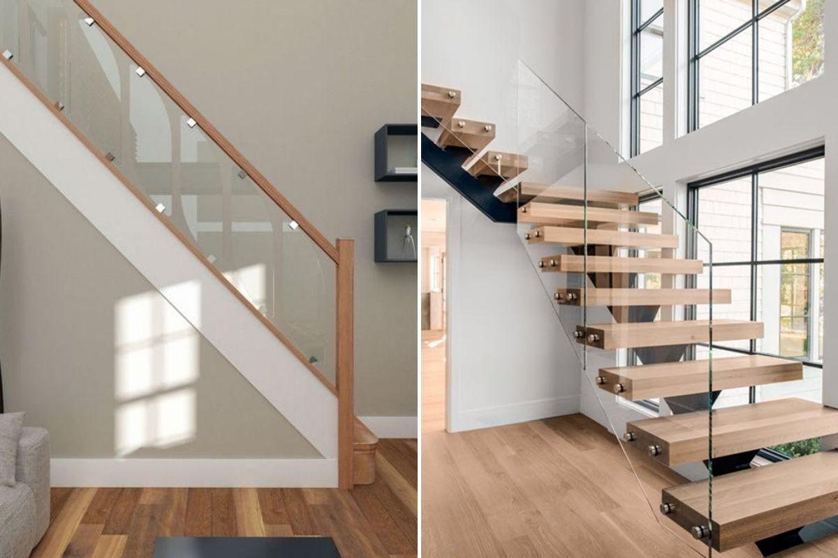 guarda-corpos de madeira e vidro escadas