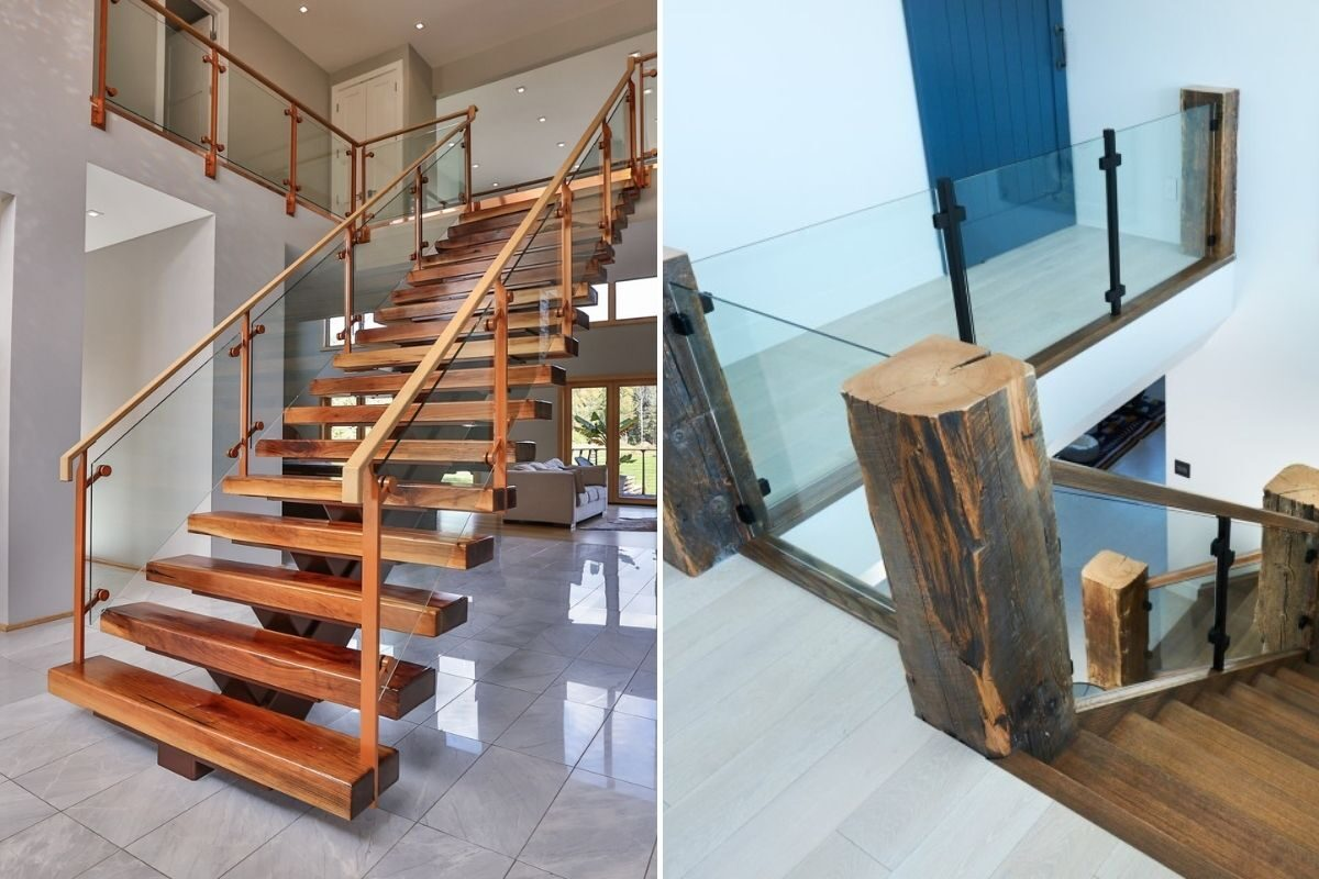 guarda-corpos de madeira e vidro escadas rusticas