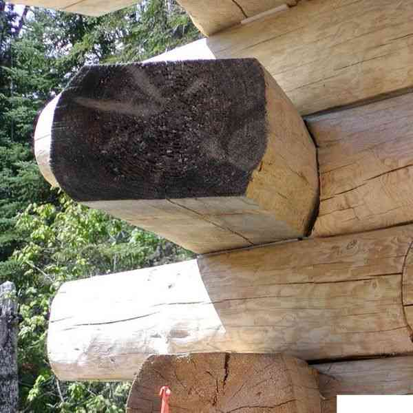 junta trespassante em casas de toras e troncos