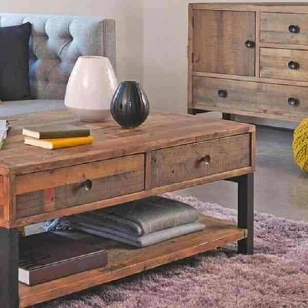 madeira de demolição mesa de centro