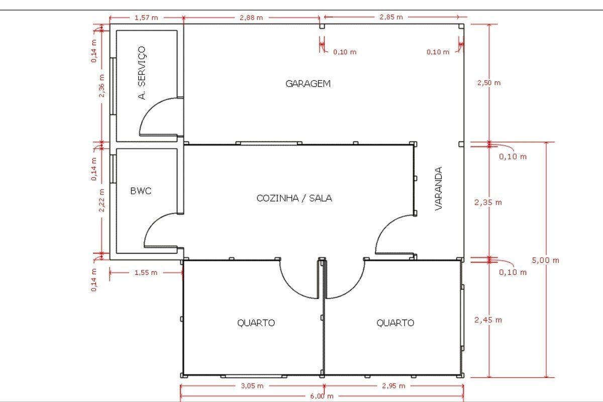 1 planta de casa Modelo Pop 2.2 de 52,57M²