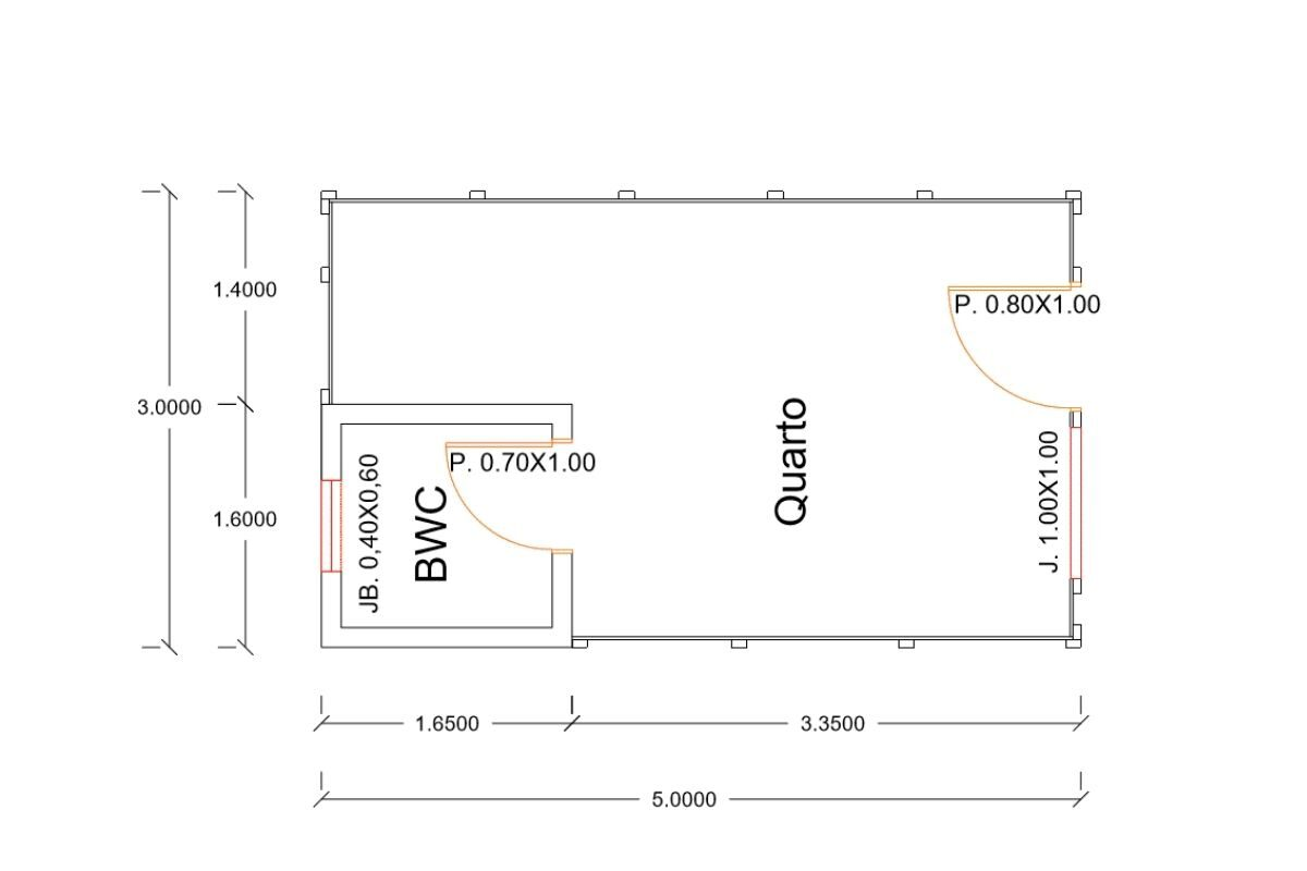 1- planta de casa Modelo Pousada Pop 1.0 de 15,00M²