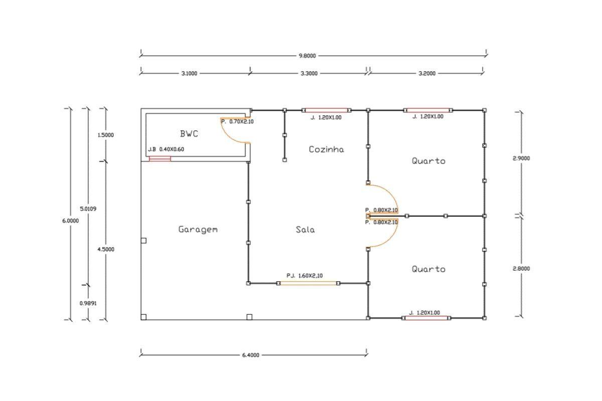 10 planta de casa Modelo Alto São Bento de 58,80M²