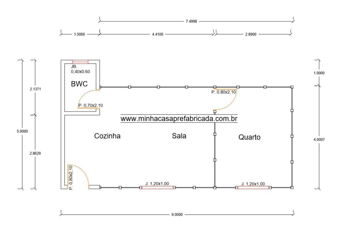 10 planta de casa Modelo Canelinha de 37,00M²