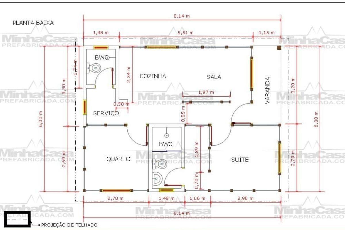 11 planta de casa Modelo Cuiabá de 48,00M²