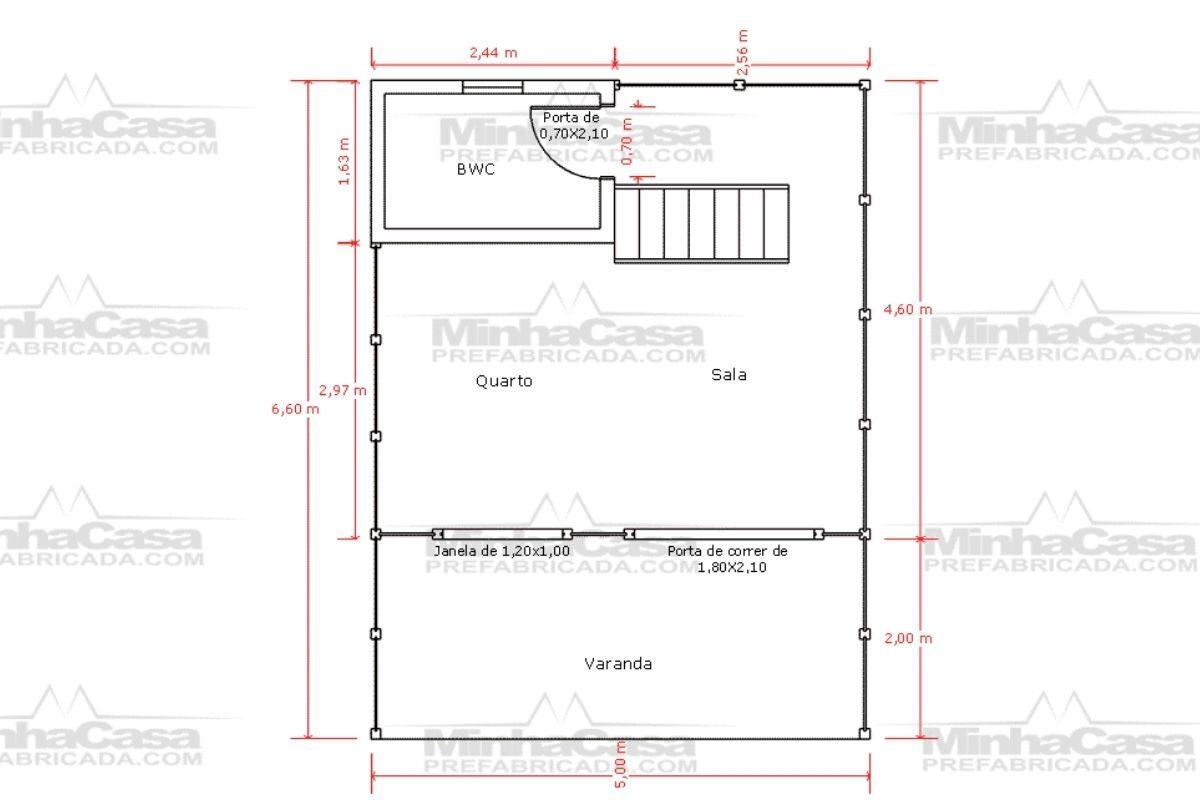 11 planta de casa Modelo Pousada 4 de 44,22M² 1