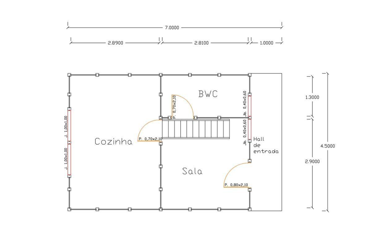 12 planta de casa Modelo Pomerode de 49,20M² 1