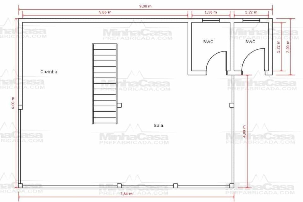 14 planta de casa Modelo Itapocu de 75,80M² 1