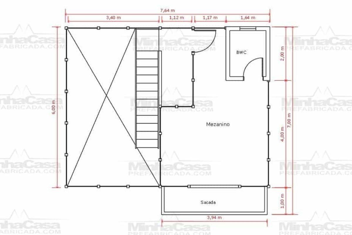 14 planta de casa Modelo Itapocu de 75,80M² 2