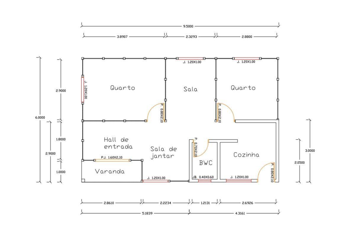 14 planta de casa Modelo Paranaguá de 57,00M²