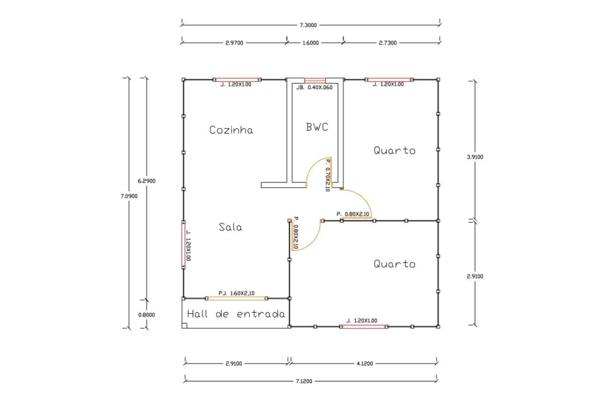 15 planta de casa Modelo Bombinhas de 51,75M²