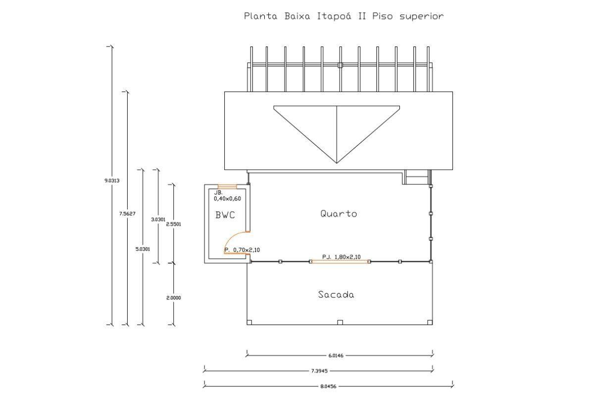 15 planta de casa Modelo Itapoá II de 73,50M² 2
