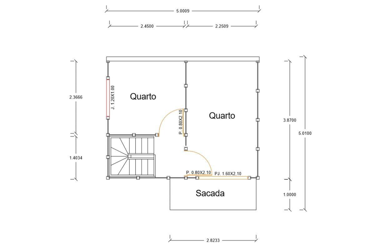 16 planta de casa Modelo Balneário Piçarras de 66,65M² 2