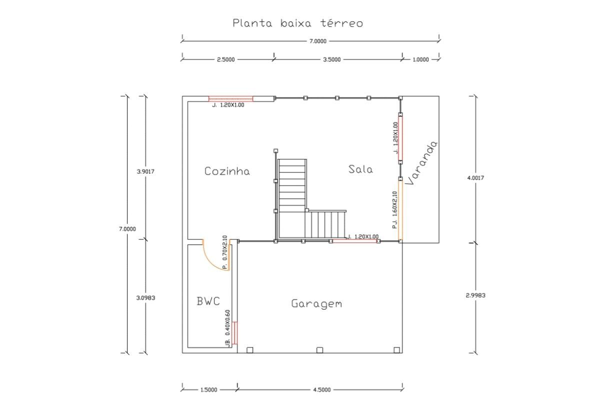18 planta de casa Modelo Itajaí 78,50M² 1