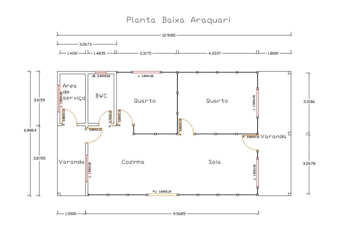 19 planta de casa Modelo Araquarí 88,50M²