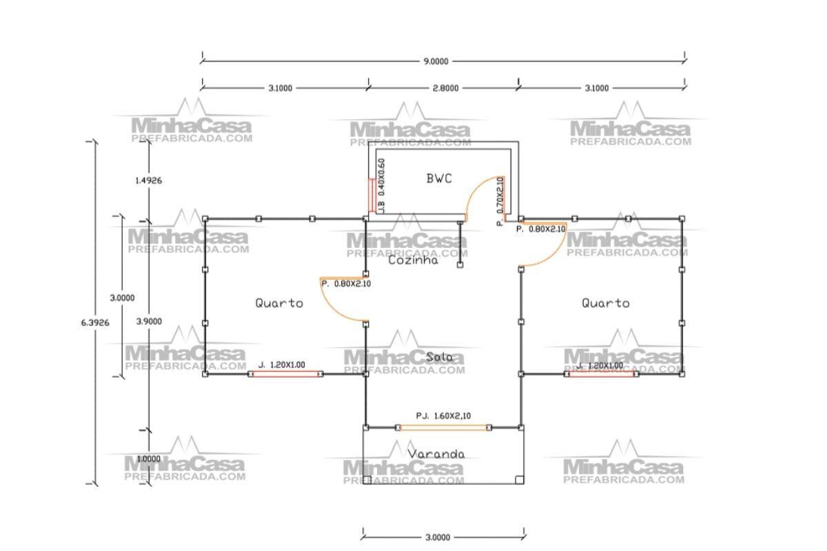 2 planta de casa Modelo Tabuleiro de 30,00M²