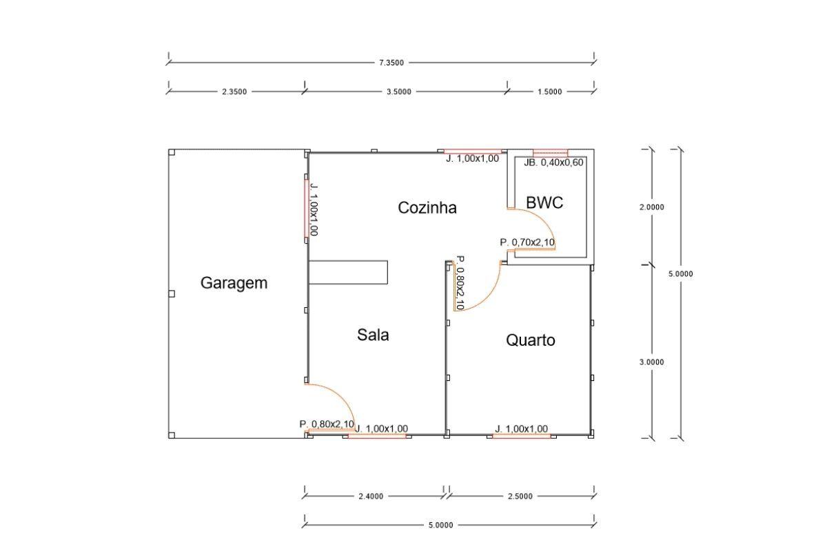 3 planta de casa Modelo Pop 1.0 de 36,75M²
